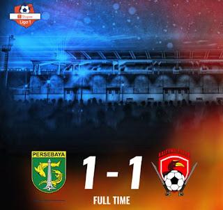 Hasil Liga 1: Persebaya vs Kalteng Putra 1-1, Bali United vs Bhayangkara FC 1-0