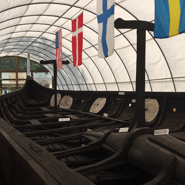 Inside of the Viking ship from the World's Columbian Exhibition in Chicago