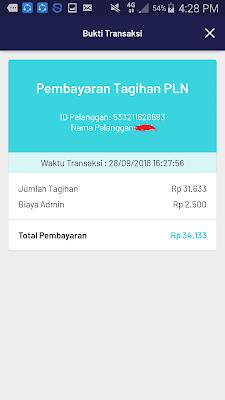 bukti pembayaran pln prabayar dengan aplikasi pede