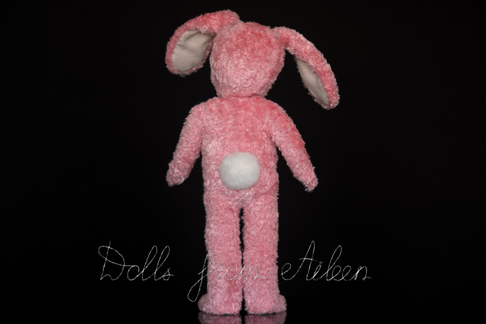 ooak Easter Bunny teddy doll, view from behind showing fluffy tail