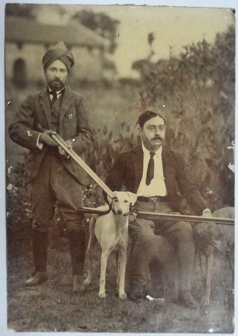 Two Men with Hunting Rifles and a Dog - Vintage Photograph