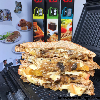 Grilled sandwich with caramelised onions, mushroom and cheese