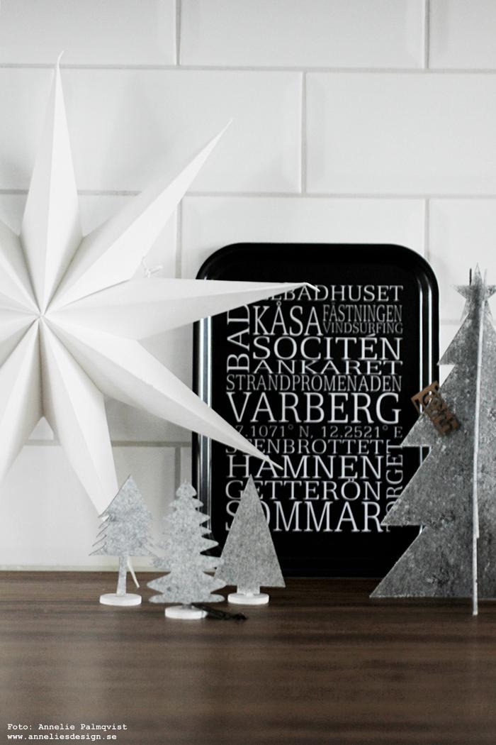 annleies design, webbutik, inredning, varberg, varbergs, bricka, brickor, svartvit, svartvita, svart och vitt, kök, köksbänk, bänkskiva, stjärna, gran, granar, Oohh, dekoration, jul, julpynt, julen 2017,