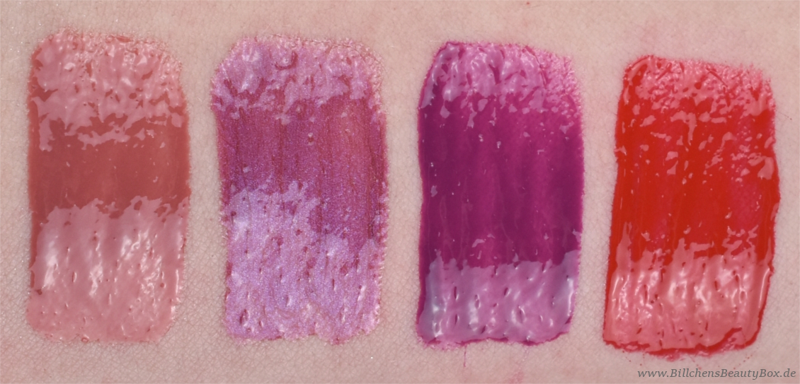 essence - shine shine shine Lipgloss - dress up our lips - for a night out - runway, your way - red carpet starlet - Swatches