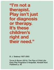Quotes child life with photos: i'm not a therapist play isn't just for diagnosis or therapy. It's these children's right and their need