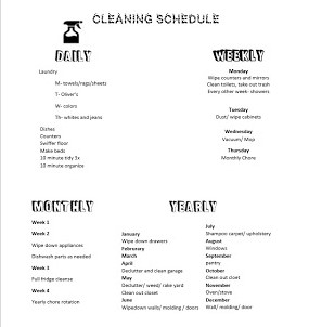 this is my cleaning schedule i have chores i do everyday dishes swiffer the kitchen laundry etc i also have different chores i do for each day