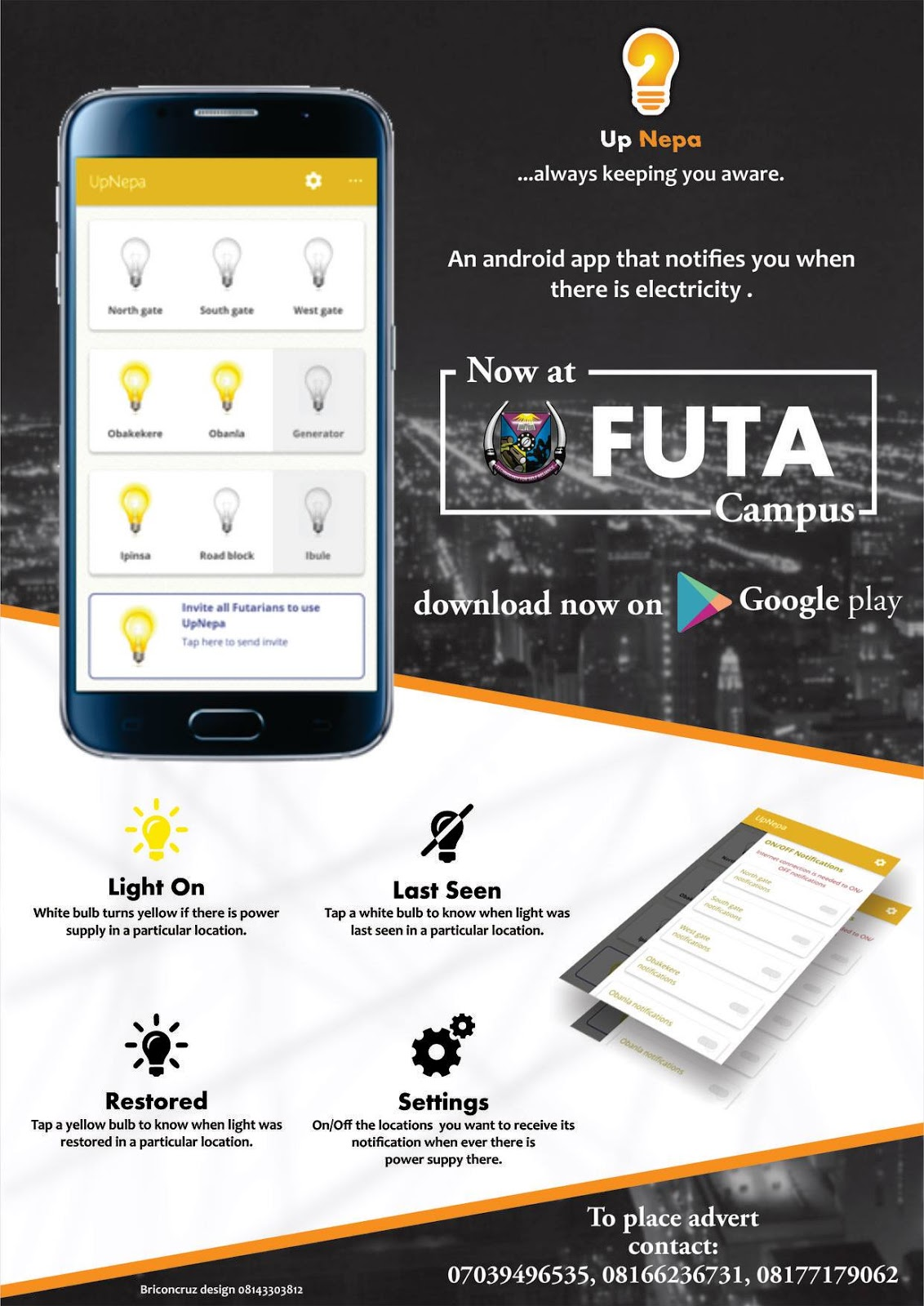 FUTA Students Develop Electricity Notification App