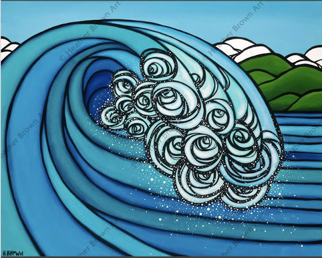 big blue wave art by heather brown Hawaii