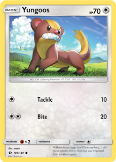Yungoos Sun and Moon Pokemon Card