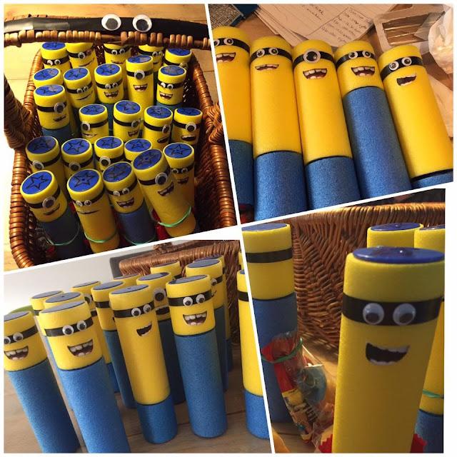 minions gemaakt van waterspuiten van de action, minions waterspuiten, action DIY