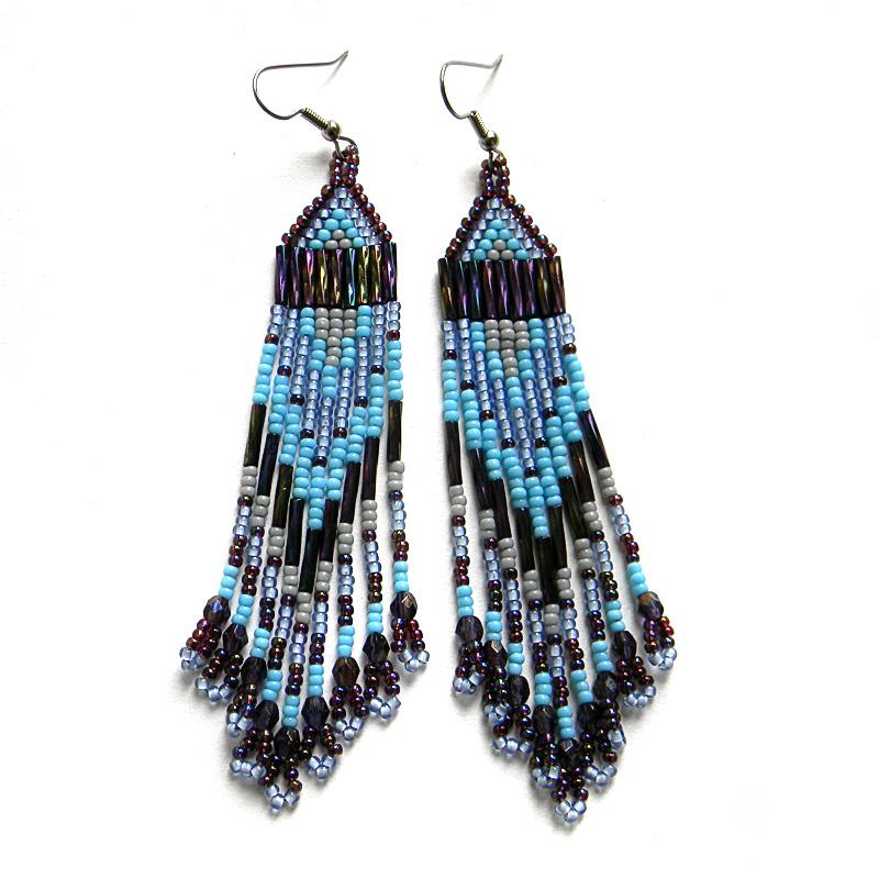 Купить украшения ручной работы серьги из бисера голубые