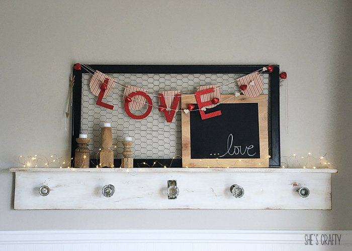 love banner, heart banner, love sign, wooden candle holders, fairy lights