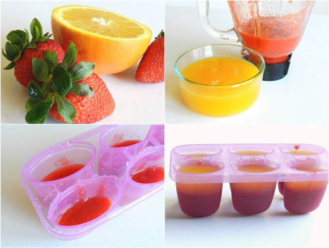 Orange Strawberry Juice Popsicles