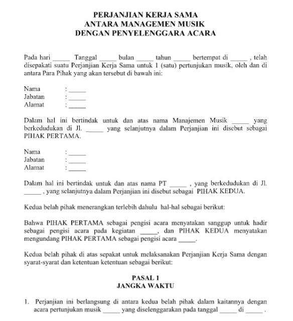 Contoh Surat Perjanjian Kerja Sama Managemen Musik dan Penyelenggara
