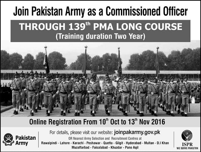 Join Pak Army Jobs as Commissioned Officer 139 PMA Long Course