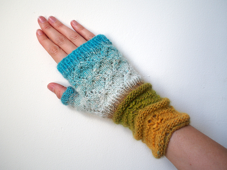 Earth to Sky Mitts, knit in Noro Shiraito by blogger Dayana Knits