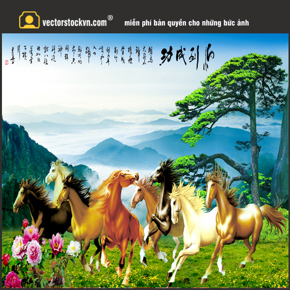 Tranh Ngựa Dán tường