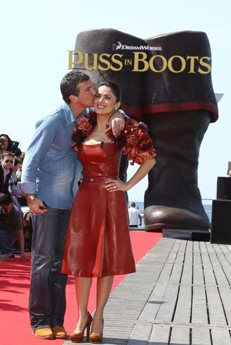 Antonio Banderas Salma Hayek Puss In Boots Cannes animatedfilmreviews.filminspector.com