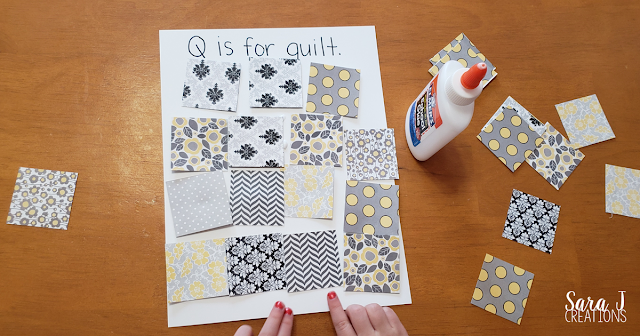 Q is for Quilt craft using scrapbook paper