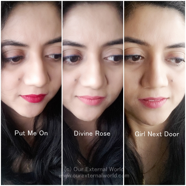 FACES Ultime Pro Matte Lip Crayons: Put-Me-On, Divine-Rose and Girl-Next-Door Swatches