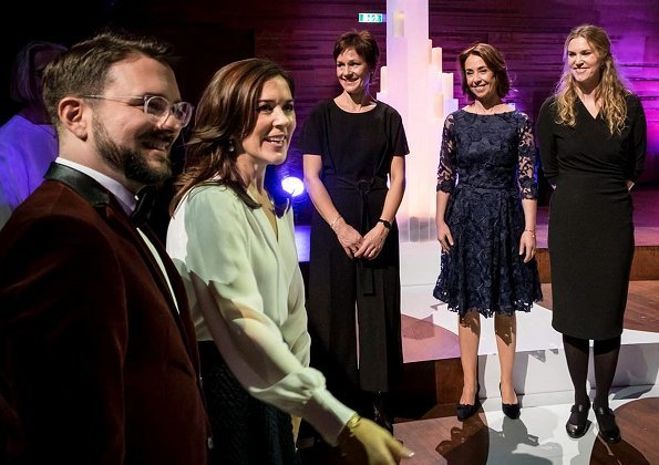 Crown Princess Mary wore Joseph double cashmere Oslo coat, Mary wore Rupert Sanderson Pinka embellished pebble satin pumps