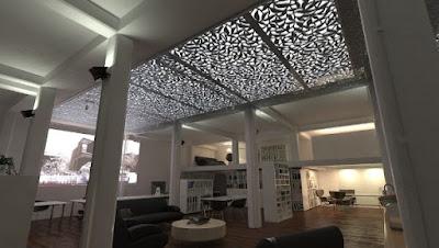 krawangan seebagai ornamen atap dikombinasikan dengan kaca