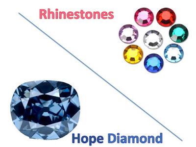 Picture shows the magnificent blue Hope Diamond in comparison with a rhinestones of various colors