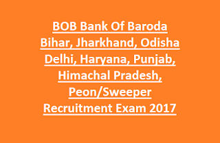 BOB Bank Of Baroda Bihar, Jharkhand, Odisha Delhi, Haryana, Punjab, Himachal Pradesh, Peon, Sweeper Recruitment Exam 2016