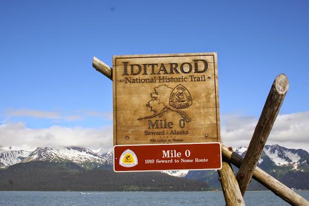 Sign showing Seward,Alaska,'s tie to the Iditarod.