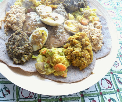 Ethiopian Stewed Vegetables (front and centre)