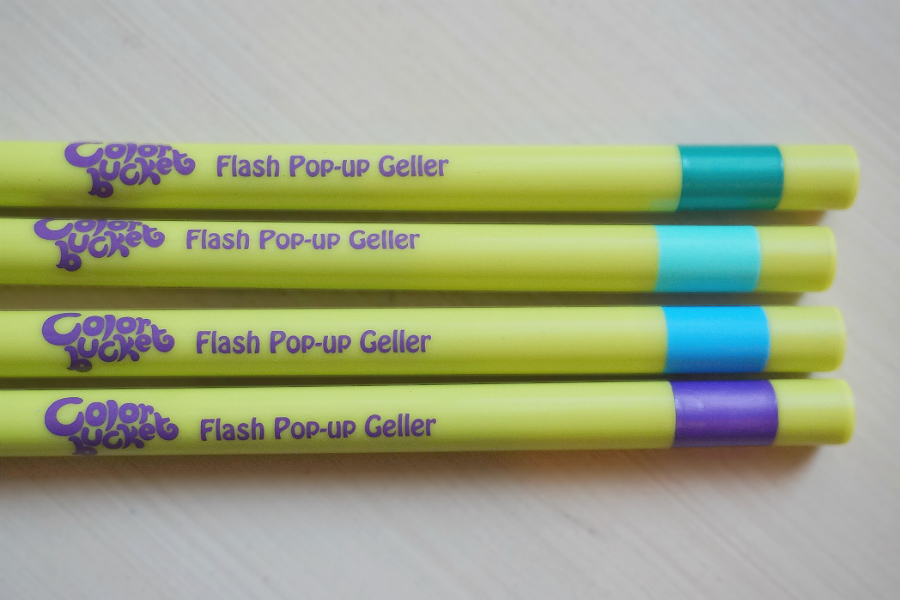 Color Bucket Flash Pop Up Geller: Green, Pastel Mint, Bright Sky Blue, Sparkling Purple