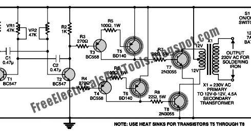 Free Schematic Diagram: Soldering Iron Voltage Inverter
