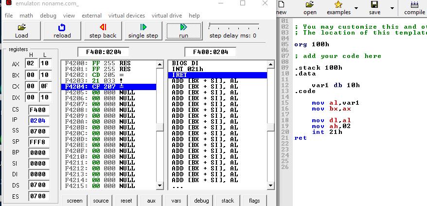 Assembly language tutorial-First program in emu8086 emulator