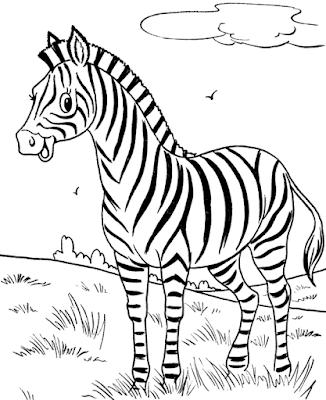 Gambar Mewarnai Zebra - 1
