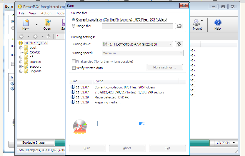 Burn start process to make windows 7 DVD Using PowerIOS