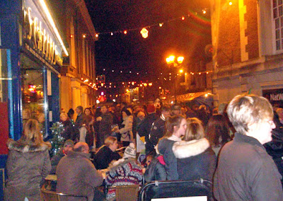 Crowds in Brigg town centre on the night  the Christmas Lights were switched on