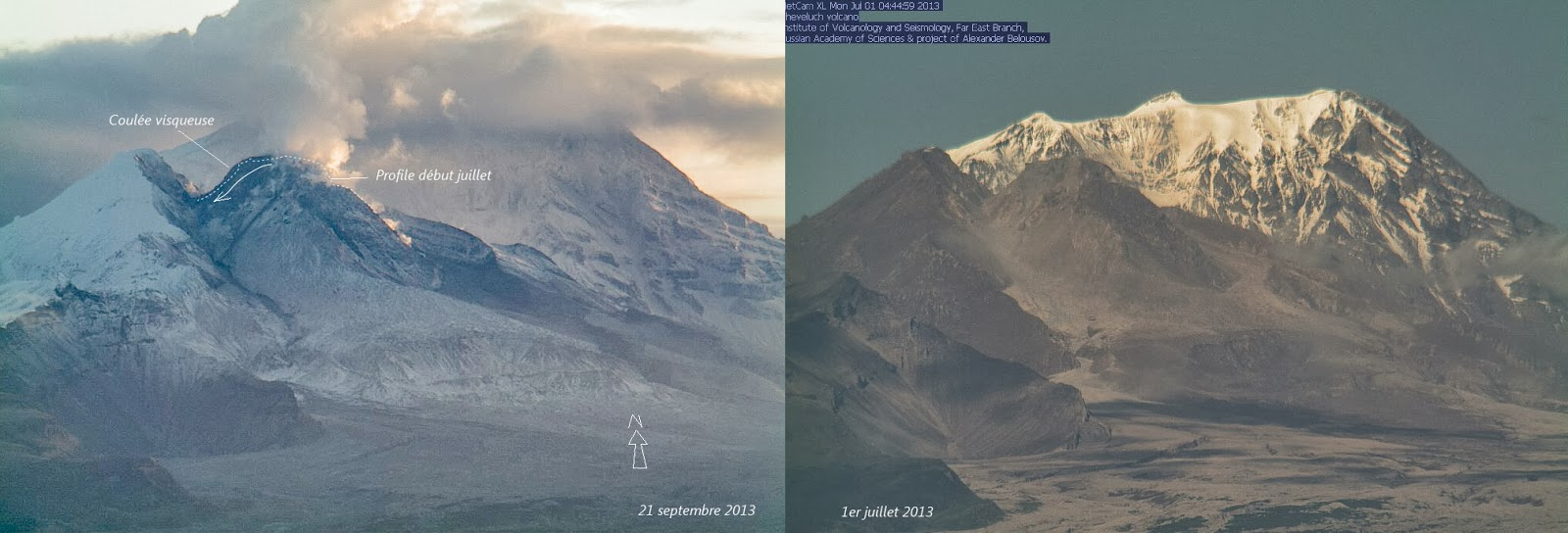 Evolution de la coulée du volcan Shiveluch, 21 septembre 2013