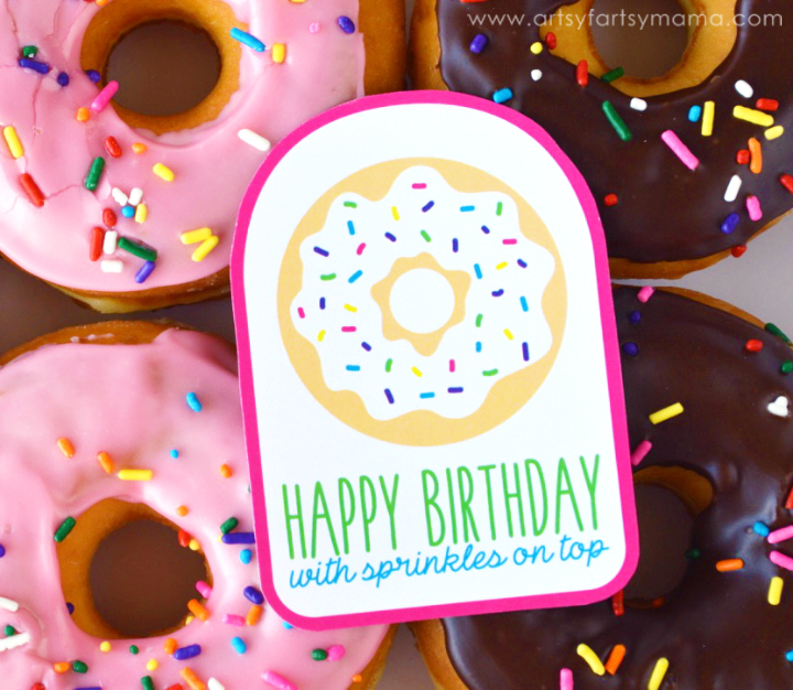 Free Printable Birthday Donut Gift Tags at artsyfartsymama.com
