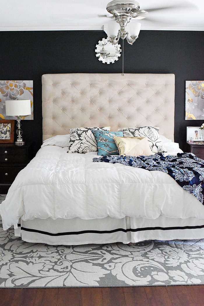 Navy white master bedroom refresh monica wants it for Modern farmhouse bedroom