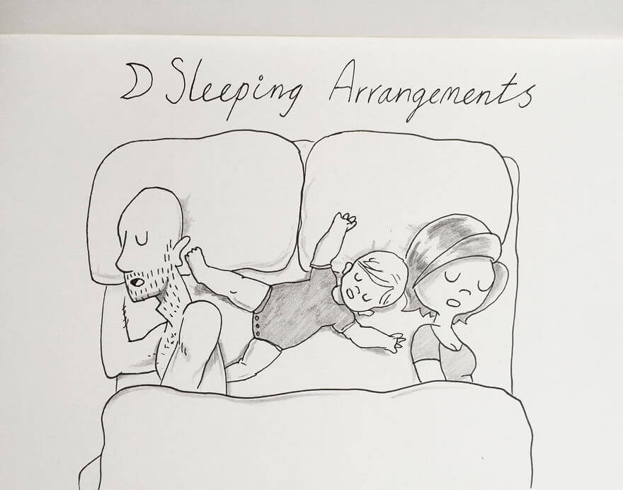 Guy Has Been Drawing A Comic Every Day For His Partner For Five Whole Years - About 2AM Poppy Comes Into Our Bed. This Is Her Preferred Sleeping Position