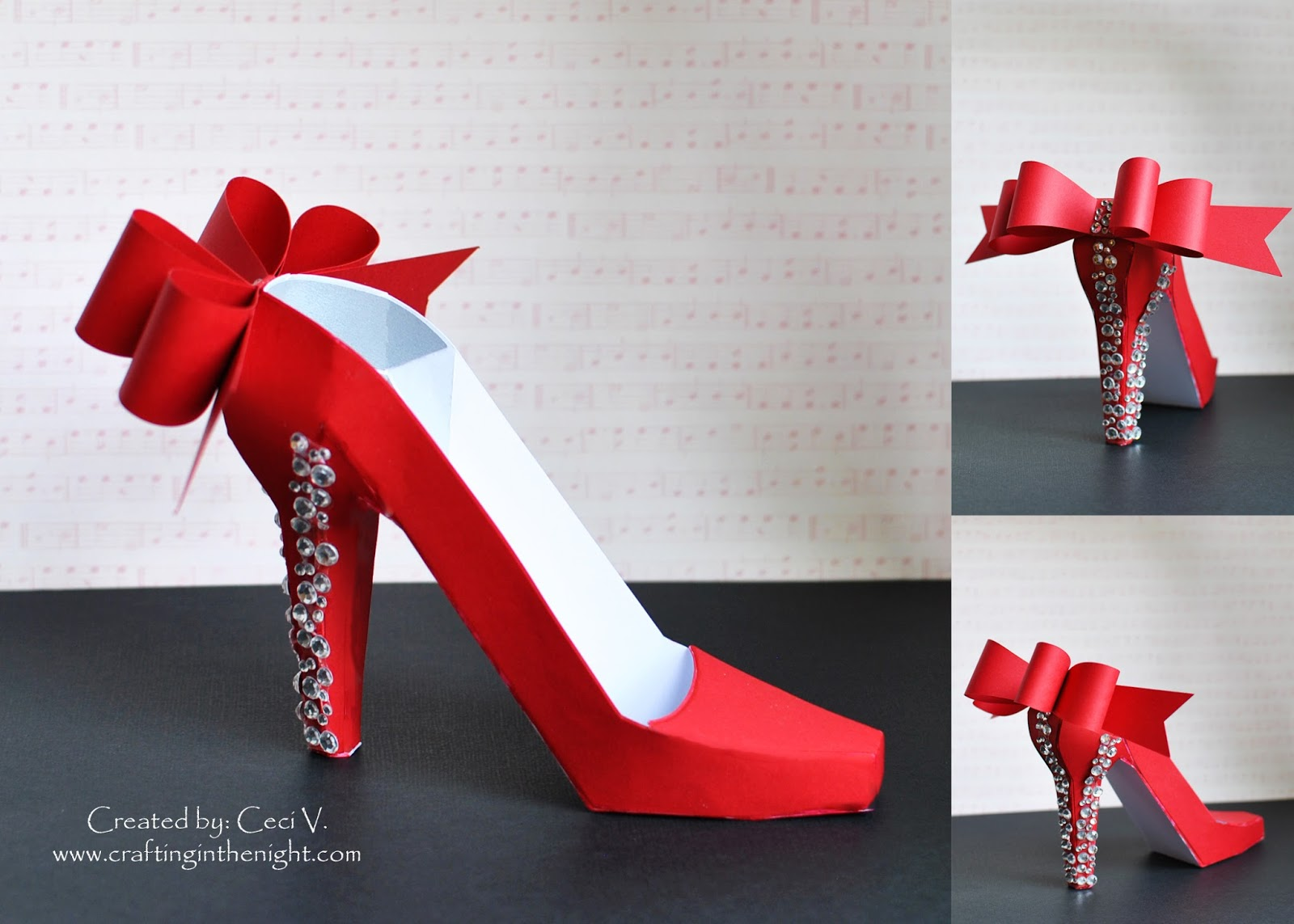 how to make paper shoes templates - crafting in the night 3d high heel shoe