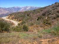View northwest toward Glendora Mountain Road from Glendora Mountain ridge, Angeles National Forest