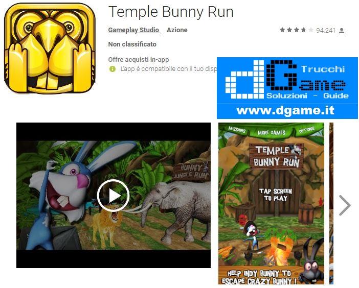 Trucchi Temple Bunny Run Mod Apk Android v1.3