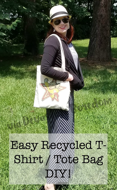 Easy t-shirt DIY reincarnation - simple tutorial for recycling an old tee into a trendy tote bag!  Perfect easy craft project for Earth Day, Elementary or older! via Devastate Boredom