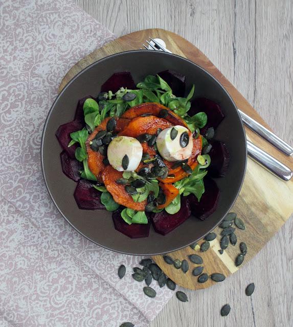 Wintersalat mit rote Beete und Kürbis