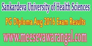 Sankardeva University of Health Sciences PG Diploma Aug 2016 Exam Results