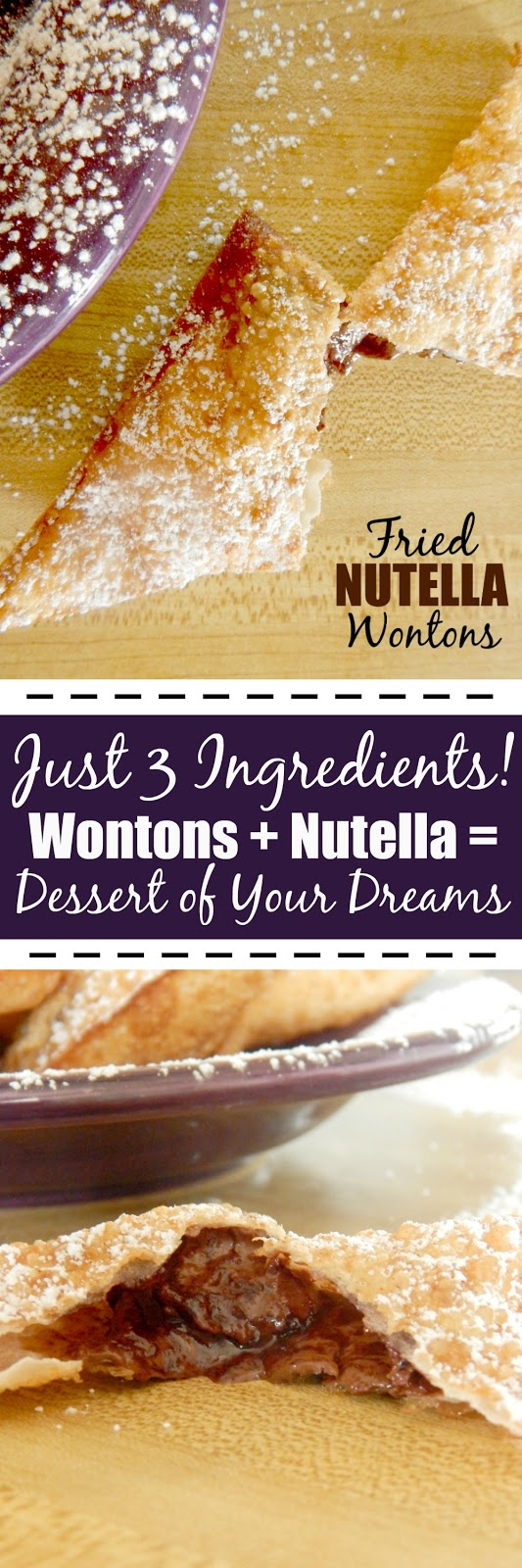 Fried Nutella Wontons....just 3 ingredients and you have a delicious, hot, crispy, oozing with chocolate dessert! (sweetandsavoryfood.com)