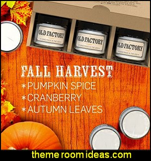 Scented Candles - Fall Harvest - Set of 3: Pumpkin Spice, Cranberry, and Autumn Leaves