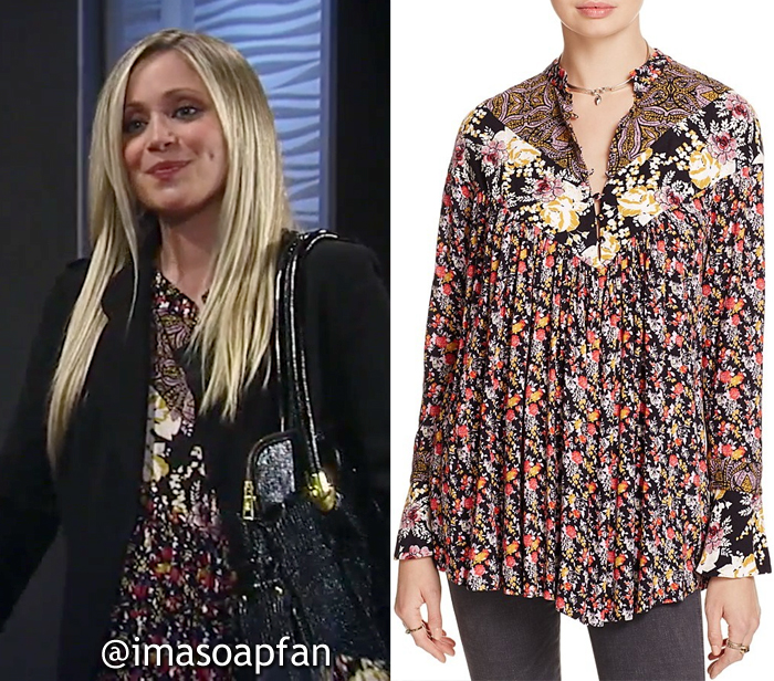 Lulu Spencer Falconeri, Emme Rylan, Black Floral Mixed Print Tunic, Free People, GH, General Hospital, Season 55, Episode 05/16/17