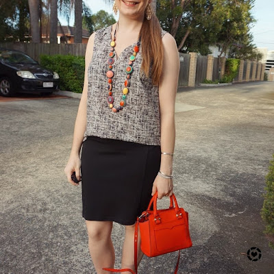 Instagram | awayfromtheblue printed button up tank pencil skirt colourful red accessories micro avery bag in the office